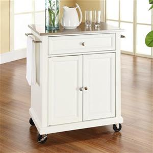 Crosley Furniture 18-in x 28-in White Craftsman Wood Kitchen Cart With Stainless Steel Top