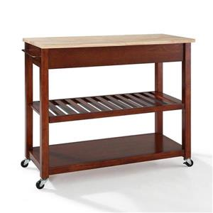Crosley Furniture 18-in x 43-in Brown Craftsman Wood Kitchen Cart With Wood Top