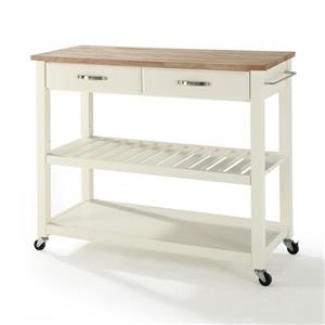 Crosley Furniture 18-in x 43-in White Craftsman Wood Kitchen Cart With Wood Top