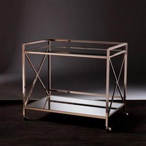 Boston Loft Furnishings Wallace 23.25-in x 38.75-in Modern Gold Glass/Metal Kitchen Cart