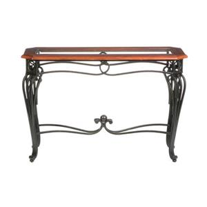 Boston Loft Furnishings Prentice Dark Cherry and Clear Glass Country Sofa Table