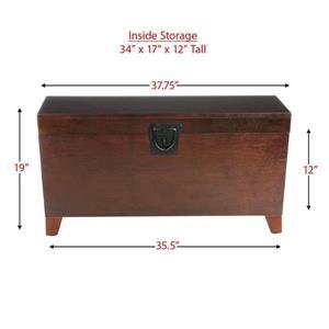 Boston Loft Furnishings 100-lb Pyramid Espresso Wood Storage Trunk