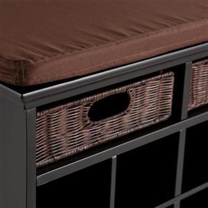 Boston Loft Furnishings Sebastian 60-Lbs 21.75-In x 38-In x 16.25-In Casual Espresso/Black Indoor Storage Bench