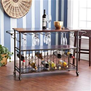 Boston Loft Furnishings 17-in x 48.50-in Midcentury Brown MDF Kitchen Cart With Hanging Glass And Bottle Rack Acocmmodations