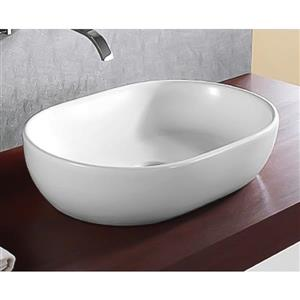 Nameeks Ceramica Vessel White Oval Bathroom Sink
