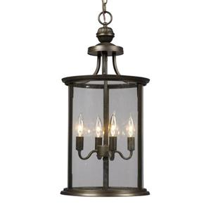 Galaxy Huntington 12-in x 24.25-in Oil Rubbed Bronze Clear Glass Traditional Lantern Pendant Lighting