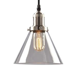 Galaxy Vintage 7-in x 7.83-in Brushed Nickel Clear Glass Transitional Cone Mini Pendant Lighting