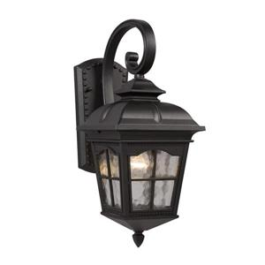 Galaxy Lighting 16.75-in Black Water Glass Outdoor Wall Light