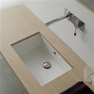 Nameeks Scarabeo Miky White Undermount Rectangular Bathroom Sink with Overflow