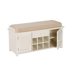 Boston Loft Furnishings Farrell Country 21.00-in x 42.25-in Antique White/Tan Storage Bench