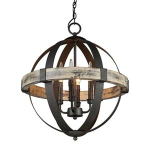 "Artcraft Lighting Castello 4-Light Chandelier - 22.5"" x 20"" - Black/Aspen Wood"