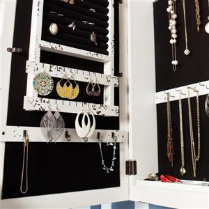 Boston Loft Furnishings Gayla Antique 30-in x 17-in Off-White Wall-Mount Jewelry Armoire