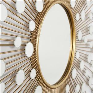 Boston Loft Furnishings Smithers 34-in x 34-in Gold Beveled Sunburst Wall Mirror