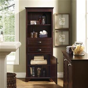Crosley Furniture Lydia 24.5-in x 60-in Espresso Composite Freestanding Linen Cabinet