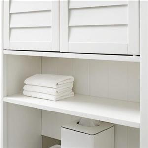 Crosley Furniture Lydia 27-in x 66.5-in White Composite Freestanding Linen Cabinet