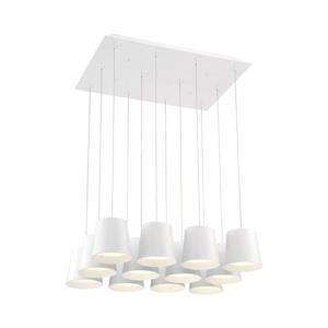 Eurofase Borto 20-in White White Glass Modern Rectangle 12-Light LED Pendant