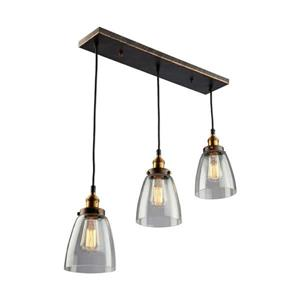 Artcraft Lighting Greenwich 22.5-in W 3-Light Multi-tone brown/copper Transitional Kitchen Island Light with Clear Shade