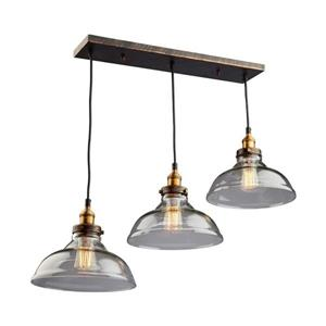 Artcraft Lighting Greenwich 35.0-in W 3-Light Multi-tone brown/copper Transitional Kitchen Island Light with Clear Shade