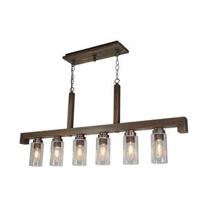 Artcraft Lighting Jasper Park 48.0-in W 6-Light Brunito Rustic Kitchen Island Light with Clear Shade