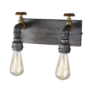 Artcraft Lighting American Industrial 12.0-in W 2-Light Iron/Brass Industrial Arm Hardwired Wall Sconce