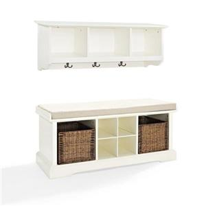 Crosley Furniture Brennan 18.25-In x 42-In Casual White Indoor 2-Piece Indoor Storage Bench and Shelf Set