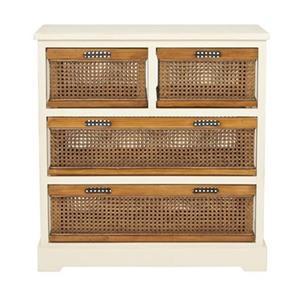 Safavieh Jackson Rectangular 4 Drawer Off-White Wood Console Table