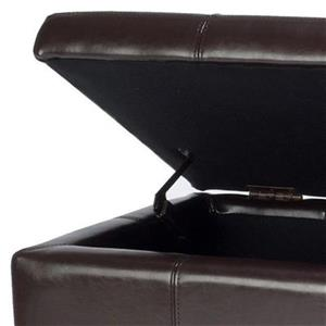 Safavieh Maiden Large 17.00-in x 40.00-in Brown Faux Leather Tufted Storage Bench