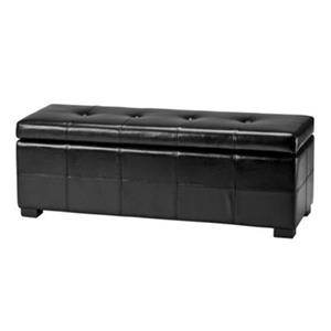 Safavieh Maiden Large 17.00-in x 40.00-in Black Faux Leather Tufted Storage Bench