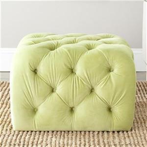 Safavieh Kenan 17.30-in x 25.40-in Granny Smith Apple Green Polyester Ottoman