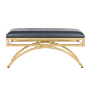 Safavieh Moon Arc 38-in Navy Faux Leather Bench