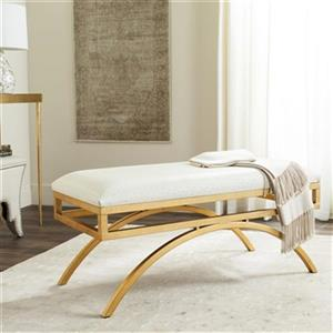 Safavieh Moon Arc 38-in Cream Faux Leather Bench