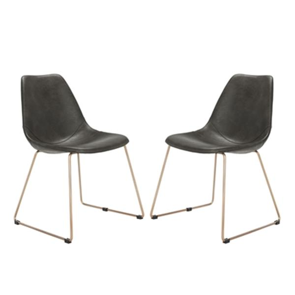 Safavieh Dorian 31 50 In Grey Midcentury Modern Faux Leather Dining Chairs Set Of 2 Lowe S Canada