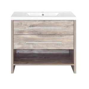 Luxo Marbre Relax Bathroom Vanity - 2 Drawers - 36-in - Natural Faux Wood