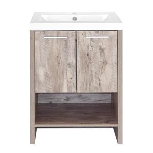 Luxo Marbre Relax 24.25-in Natural Wood Bathroom Vanity with Marble Top