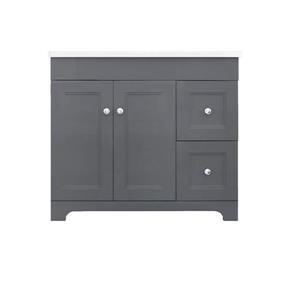 Luxo Marbre Classic Vanity - 2 Doors and 2 drawers in MDF - 37-in - Grey