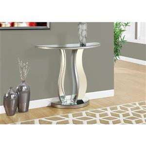 Monarch 36-in x 32.5-in Silver Glass Accent Table