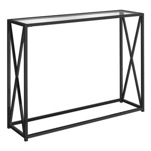 Monarch 42.25-in x 32.25-in Black Glass Accent Table
