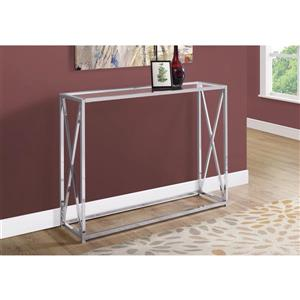 Monarch 42.25-in x 32.25-in Silver Glass Accent Table