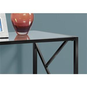 Monarch 44-in x 32-in Black Glass Accent Table