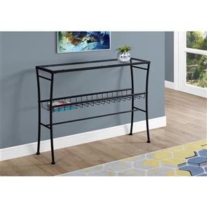 Monarch 41.75-in x 32-in Black Glass Accent Table
