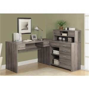 Monarch  62.75-in x 44.75-in dark Taupe L-Shaped Home Office Desk