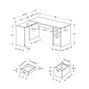Monarch  60-in x 30-in Dark Taupe L-Shaped Computer Desk