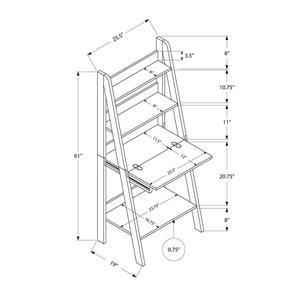 Monarch  25.5-in x 61-in Dark Taupe Ladder Style Computer Desk