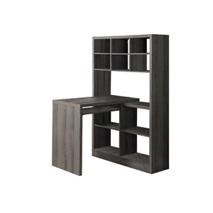 Monarch  35.5-in x 60-in Dark Taupe Left or Right Side Shelf Desk