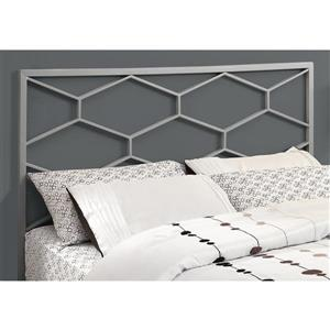 Monarch   59.75-in x 47.25-in Metal Silver Headboard