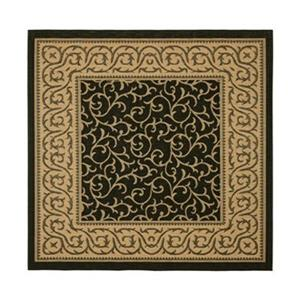 Safavieh CY6014-46 Courtyard Indoor/Outdoor Area Rug, Black/