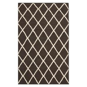 Dhurries Area Rug, Brown / Ivory