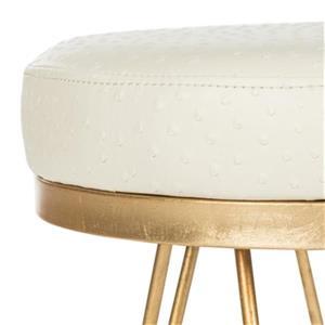 Safavieh Fox Jenine 17.75-in x 16.00-in Cream Faux Leather Ostrich Round Bench