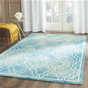 Dip Dye Hand-Tufted Wool Turquoise and Ivory Area Rug