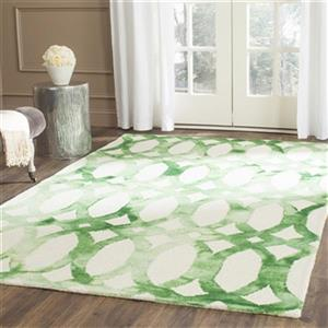 Dip Dye Hand-Tufted Wool Ivory and Green Area Rug